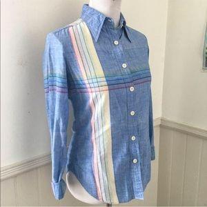 Vintage 1970s Joseph Magnin Rainbow Denim Shirt